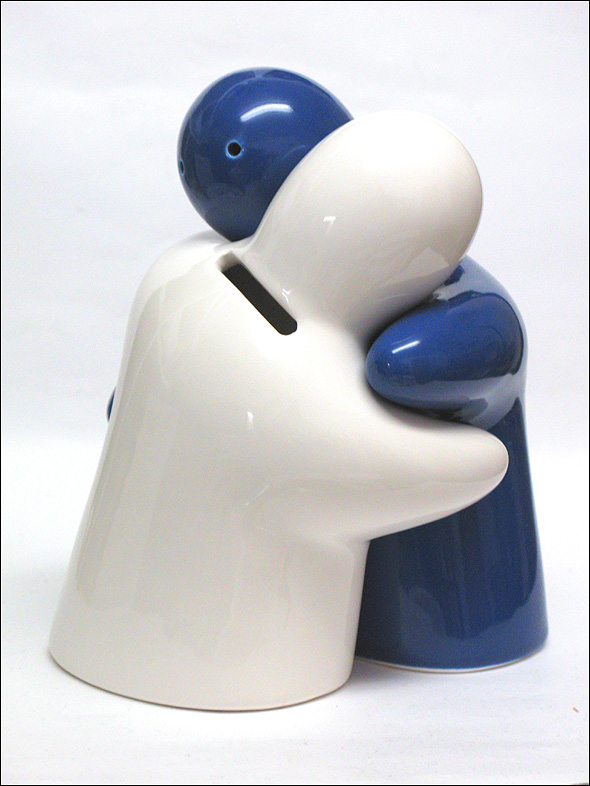 2x keramik spardose hochzeit skulptur paar blau wei ebay. Black Bedroom Furniture Sets. Home Design Ideas