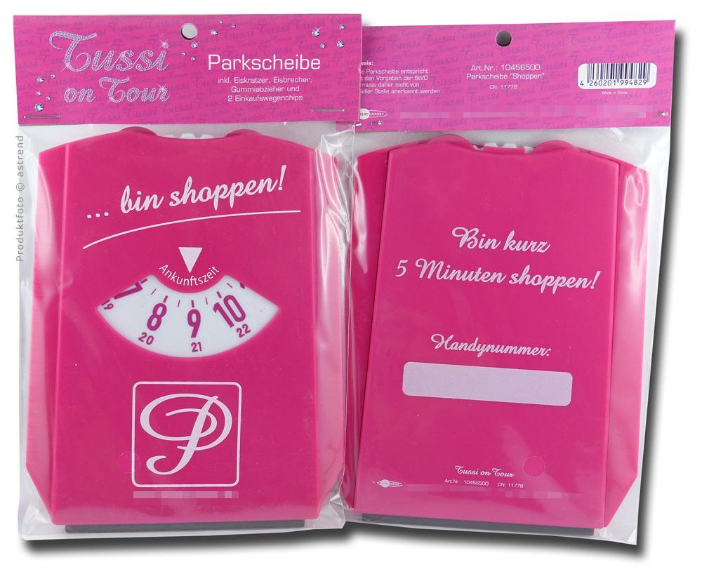 tussi on tour parkscheibe pink bin shoppen tussi. Black Bedroom Furniture Sets. Home Design Ideas